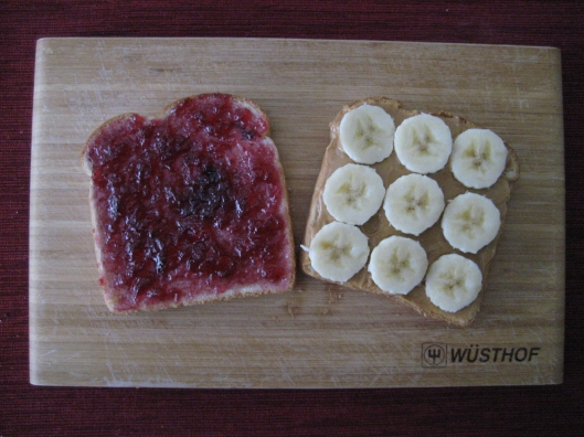 Peanut Butter, Jelly and Banana Sandwich